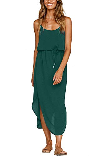 Yidarton Women's Dress Summer Casual Floral Adjustable Strappy Split Midi Beach Dress (C-Green Pure Dress, X- Large)
