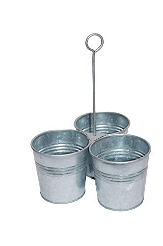 Benzara AMC0017 Galvanized Metal Cutlery Three Buckets and Ring Holder, Gray