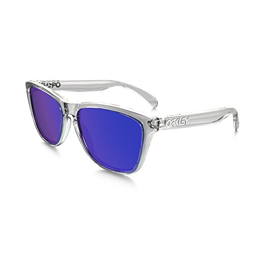 Oakley Men's OO9013 Frogskins Square Sunglasses, Polished Clear/Violet Iridium, 55 ()