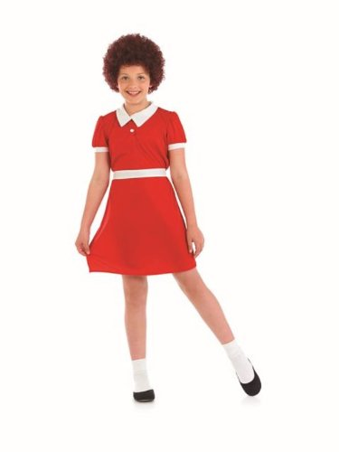 Annie Costume Uk (Annie Orphan Girls Childs Fancy Dress Costume - XL 148cms)