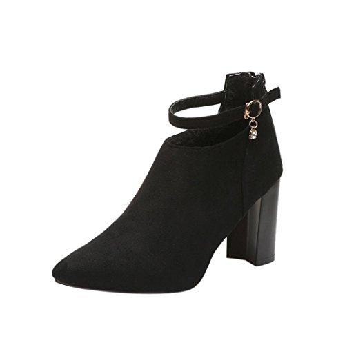 Sikye Femmes Parti Chaussures Flock Strappy Épais Talons Hauts Matting Sandales Classique Chaussure Noir