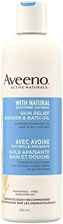 Aveeno Skin Relief Shower and Bath Oil, Dry, Itchy Skin Moisturizer for Body, Unscented, 295 mL