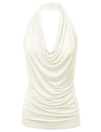 FASHIONOMIC Women's Casual Halter Neck Draped Front Sexy Backless Tank Top (S-3XL) (CLLTJ316) OFFWHITE 2X ()
