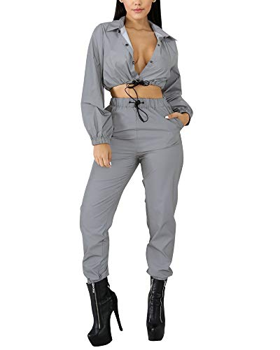 Collar Reflective Mice - MS Mouse Womens Fashion Reflective Two Piece Tracksuit Crop Top and Long Pants Set XL