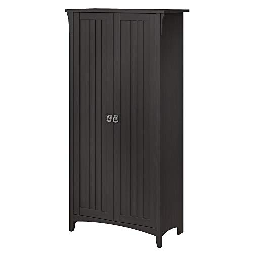 Bush Furniture Salinas Tall Storage Cabinet with Doors in Vintage Black (Bush Craft Black)