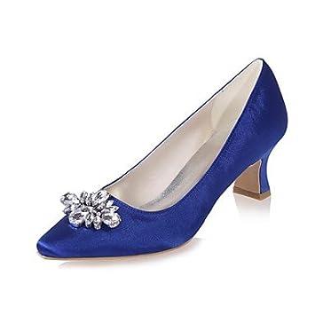 57225b751139 Wuyulunbi  Damenschuhe Satin Frühling Sommer Basic Pumpe Hochzeit Schuhe  Block Heel quadratische Spitze Strass für
