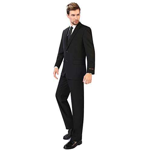 P&L Men's 3-Piece Classic Fit Vest Suit Jacket & Expandable Waist Dress Pants Black