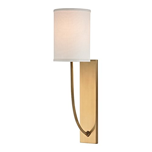 Colton 1-Light Wall Sconce - Aged Brass Finish with Linen Shade