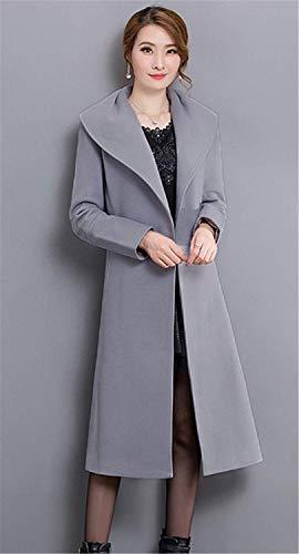 Especial Estilo Moda Primavera Largos Sólido Color Hipster De Grau Manga con Parka Solapa Cinturón Windbreaker Abrigos Elegante Slim Outerwear Fit Casual Larga Otoño Mujer 7fqOxZw