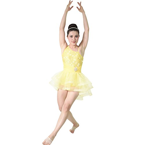 MiDee Dance Dress Costume Ballet Contemporary High-Low Tires Tulle Edged Tutu (SA, Yellow)