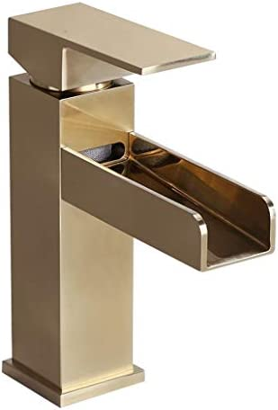 Homary Modern Waterfall Spout Bathroom Vanity Sink Faucet Single Lever Handle One Hole Cupc Certified Lead Free Deck Mount Bathroom Sink Faucet With Pop Up Drain Buy Online At Best Price In