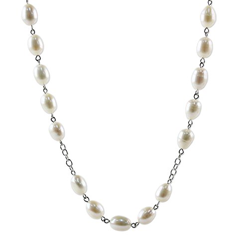 NOVICA Jade Cultured Freshwater Pearl .925 Sterling Silver Station Necklace, 'Enduring Classic' (Jade Necklace Pearl White Freshwater)