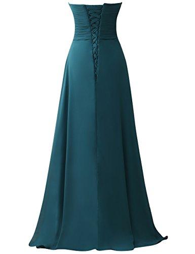 Blu Vestito da Senza Vestito Lungo da Abito ballo partito maniche Abiti Chiffon PRTS reale da da sera damigella fnqawpxv