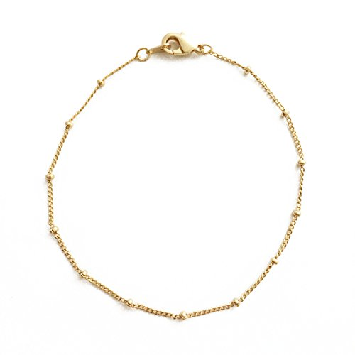HONEYCAT 24k Gold Plated Bead Ball + Chain Bracelet | Minimalist, Delicate Jewelry (Gold Bead Link Chain)