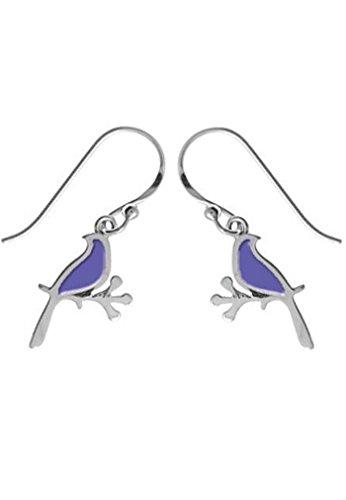 Sterling Silver Bird Dangle Earring Purple -