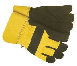 18 Pairs Radnor Large Black and Yellow Canvas and Leather Thinsulate Lined Cold Weather Gloves