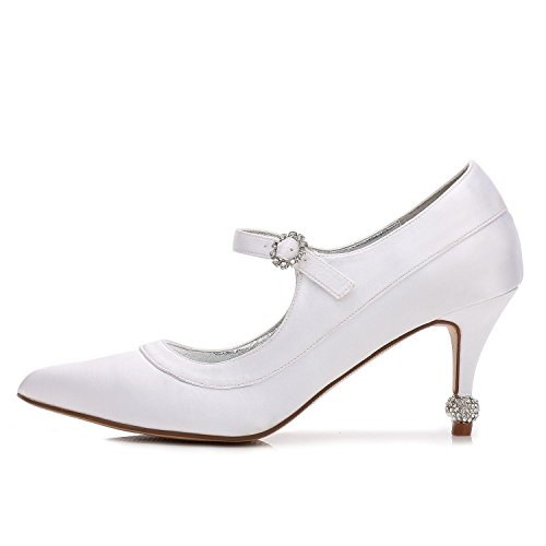 Mujeres Blanco YC Talón L Boda Casual Trabajo de Cuñas Gatito de Fiesta noche Satén Zapatos Nupcial corte Boda 5gvnxWv