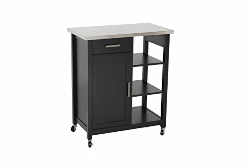 Oliver and Smith - Nashville Collection - Mobile Kitchen Island Cart on Wheels - Black - Stainless Steel Top - 32'' W x 17'' L x 36'' H 102117-01blk by LIFE Home