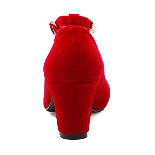 shoes Mesdames supérieur cuir Boucle pumps heels en kitten red ankle strap balamasa HvCwqdv