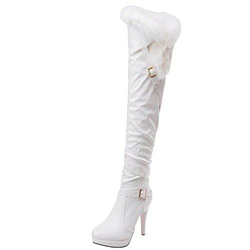 Mee Shoes Damen high heels Plateau langschaft Pompon Stiefel Weiß