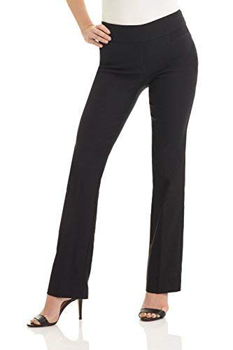 (Rekucci Women's Ease In To Comfort Boot Cut Pant (6,Black))