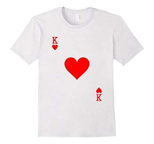 King Hearts Costume (Mens King of Hearts Playing Card Halloween Costume T-Shirt Medium White)