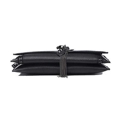 Couleur Mode Sacs de Main Black Abricot Souple en à Cuir Banquet 28x16cm TqvTnwRf