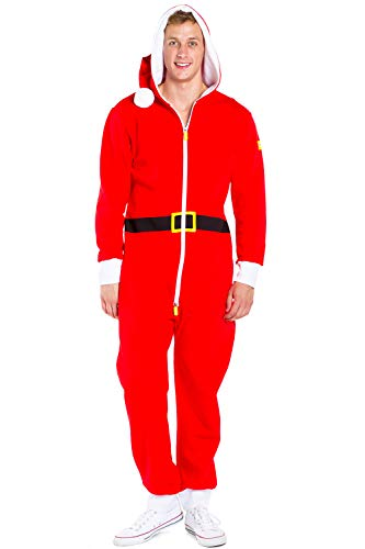 Tipsy Elves Santa Claus Onesie - Adult Santa Jumpsuit Costume Pajamas (X-Large) Red -