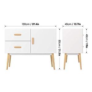 Homfa Wooden Sideboard Storage Cupboard TV Cabinet Free Standing Cabinet 1 Door 2 Drawers Living Room Bedroom White 100x40x80cm