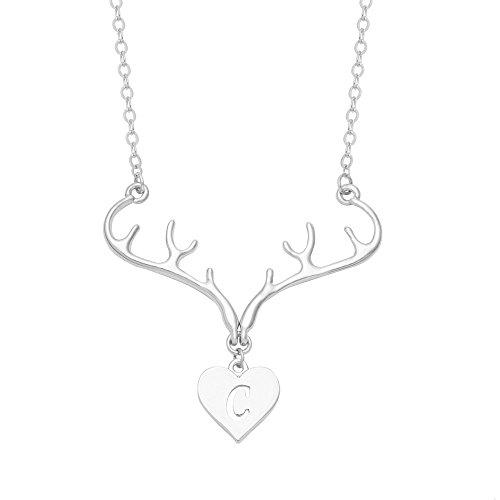 (SENFAI Silver Rhodium Plated Deer Antler Initial Alphabet Letter Heart Pendant Necklace 18