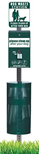 ZW USA Inc Dog Waste Station - Everything Included - Free 400 Waste Bags and 50 can Liners