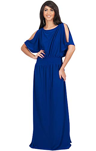 - KOH KOH Plus Size Womens Long Split Flowy Short Sleeve Elegant Cocktail Loose Maternity Casual Summer Sexy Sundress A-line Modest Dressy Gown Gowns Maxi Dress Dresses, Cobalt/Royal Blue 2XL 18-20