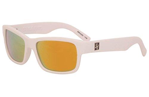 - Style Eyes Optics Model 108 Hip-Hop4, Matte White Frame, Smoke Tint Red Mirror Polarized 100% UV Lens