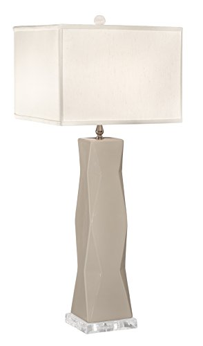 Thumprints 1219-ASL-2143 Geo Off White Square Shade Table Lamp, Ivory Gloss Finish