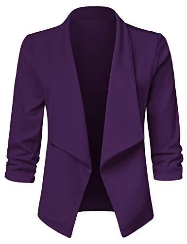 JSCEND Women's Casual Stretch 3/4 Sleeve Open Front Blazer Cardigan Jacket A-Purple S