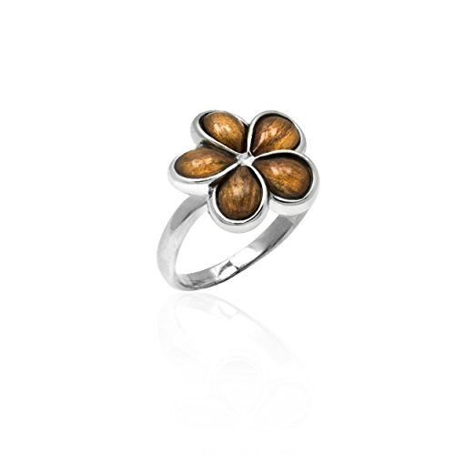 Sterling Silver Wood Plumeria Ring