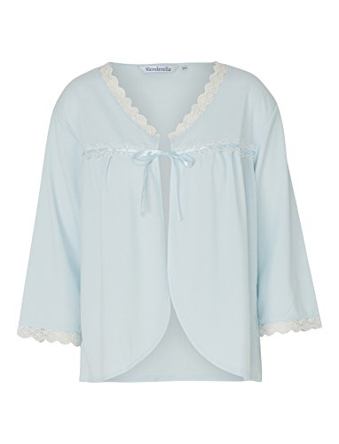 (Slenderella Ladies Lace Trim Bed Jacket Ribbon Tie 3/4 Sleeve Womens Housecoat UK 16/18 (Blue))