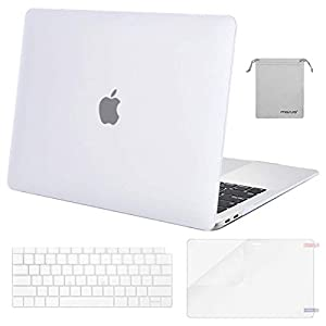 MOSISO MacBook Air 13 inch Case 2019 2018 Release A1932 with Retina Display, Plastic Hard Shell & Keyboard Cover & Screen Protector & Storage Bag Compatible Newest MacBook Air 13, Frost