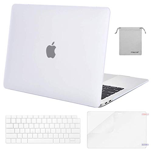 MOSISO MacBook Air 13 inch Case 2019 2018 Release A1932 with Retina Display, Plastic Hard Shell & Keyboard Cover & Screen Protector & Storage Bag Compatible with MacBook Air 13, Frost