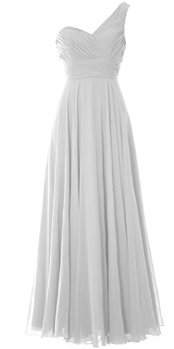 MACloth Women One Shoulder Long Bridesmaid Dress Wedding Party Evening Gown Blanco