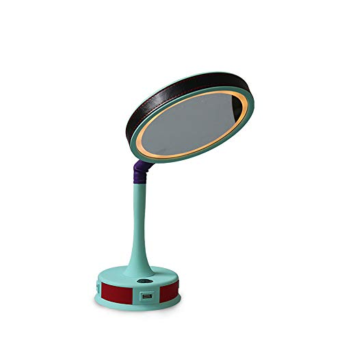 LED Touch sensing induction Makeup Mirror table lamp mobile power rotatable 3-port USB Chargable Dimming Night light Mirrors (Tiffany Ring Tone Two)