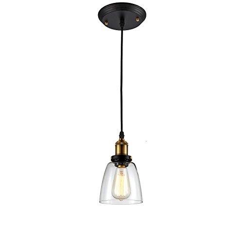 Ohr Lighting Edison Pendant Light Industrial Farmhouse Hanging Fixture Clear Glass Brass Finish