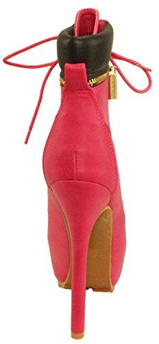 BellaMarie Womens Britney-11 Lace-up Hidden Platform High Heel Ankle Boots Fuchisa