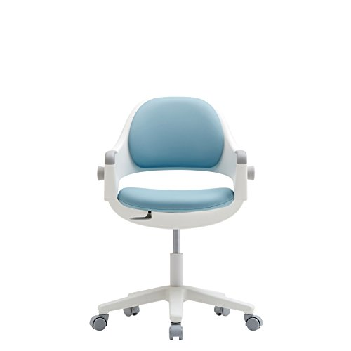 SIDIZ Ringo Rotation Gas Lift Desk Chair for Growing Kids (Lavender Blue (A374M, Synthetic Leather)+Foot Rest) by SIDIZ
