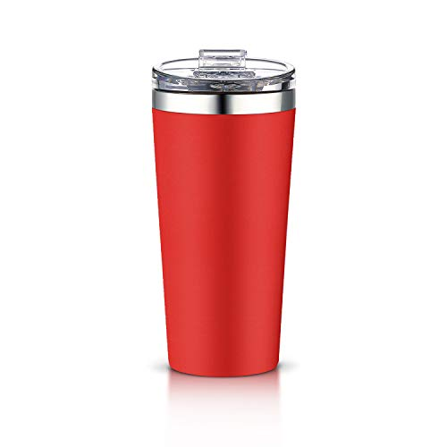 AA Products 16oz Tumbler-Vacuum Insulated Double-Walled 18/8 Stainless Steel Water Bottle/Travel Coffee Mug For Cars, Home,Office,School-Red