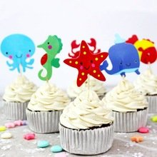 Ocean Themed Cupcake Toppers Picks Sea Life Creatures Crab Whale Fish Octopus Birthday Party Supplies Favors Pack of 24