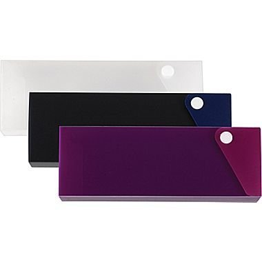 l Cases in Assorted Colors - Clear, Pink or Purple - 2.8 x 8 x 1-inches - Holds 24 No.2 Pencils (Slider Pencil Case)