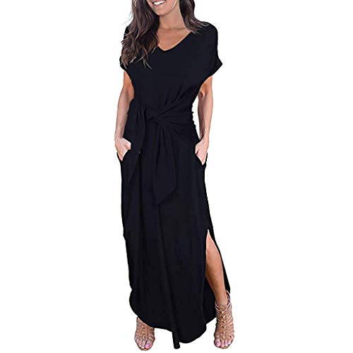 Women's Long Dress Summer Boho Casual Loose Solid Short Sleeve Round Neck Wrap Side Split Maxi Dresses with Belt Black ()