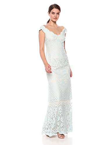 (Tadashi Shoji Women's Cap Sleeve All Over lace Gown, Mint/Natural, 6)