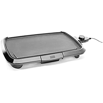 Chefman Electric Griddle, Fully Immersible and Dishwasher Safe Features, Adjustable Temperature Control Allows for Versatile Cooking and Removable Slide-out Drip Tray for Easy Cleaning  - RJ23-SM